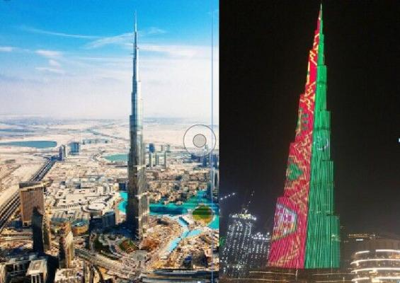 Дубайский небоскреб «Бурдж-Халифа» окрасился в цвета флага Туркменистана