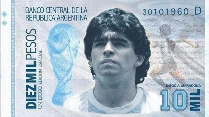 Argentinalylar Maradonanyň suratyny milli puluň ýüzünde ýerleşdirmek isleýärler