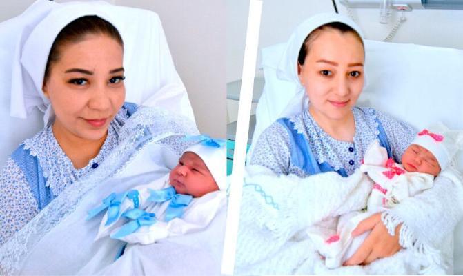 Ашхабад и Мерджен – первые младенцы, рожденные в День Ашхабада