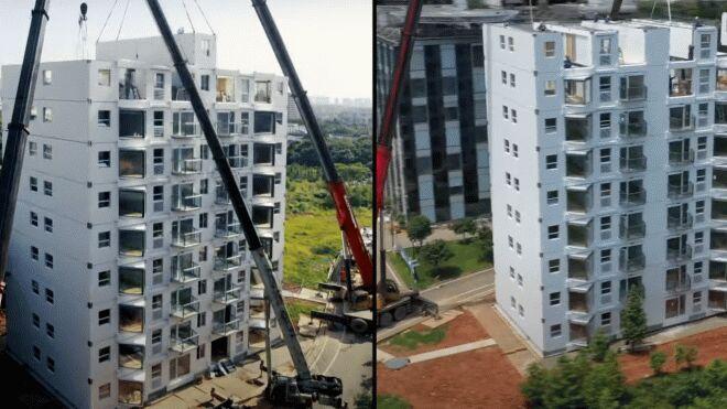 Китайские строители за сутки возвели 10-этажный дом